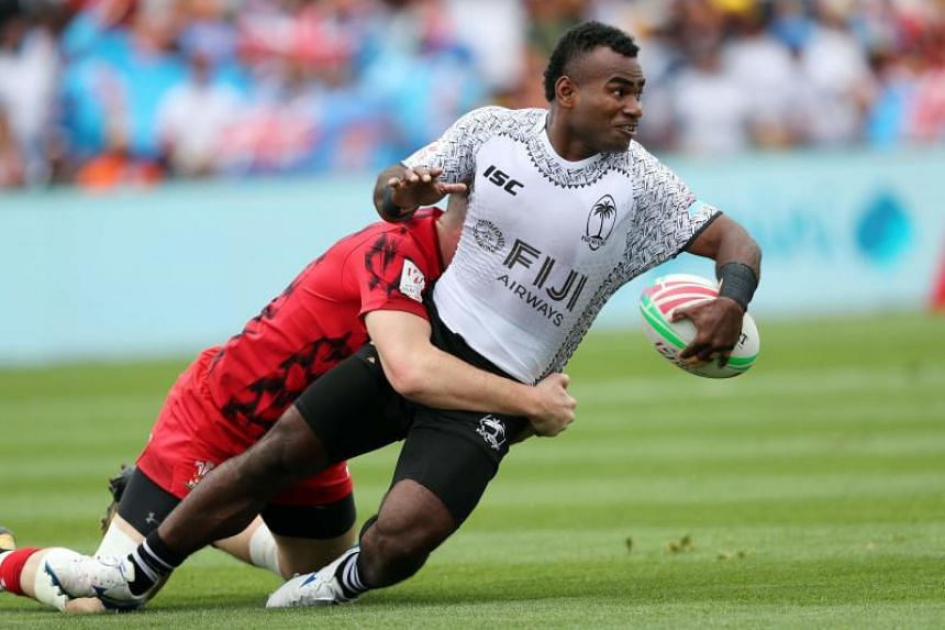 Fiji's Jerry Tuwai (right) in action during the World Rugby Sevens Series match against Wales at Waikato Stadium in Hamilton on Jan 26, 2019.