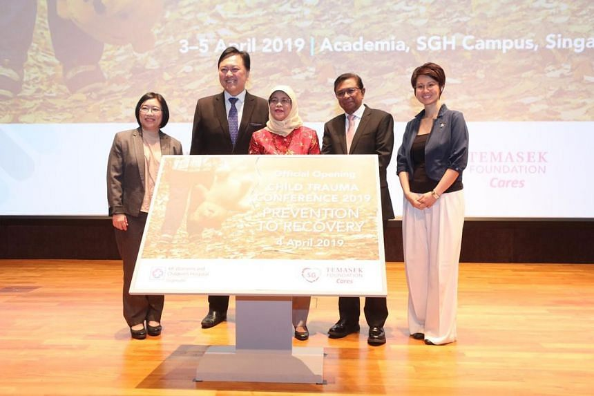 (From left) Ms Woon Saet Nyoon, Chief Executive, Temasek Foundation Cares; Professor Alex Sia, CEO, KK Women's and Children's Hospital; President Halimah Yacob; Mr Richard Magnus, Chairman, Temasek Foundation Cares; and Ms Lynn Soh, Chairman, Chi
