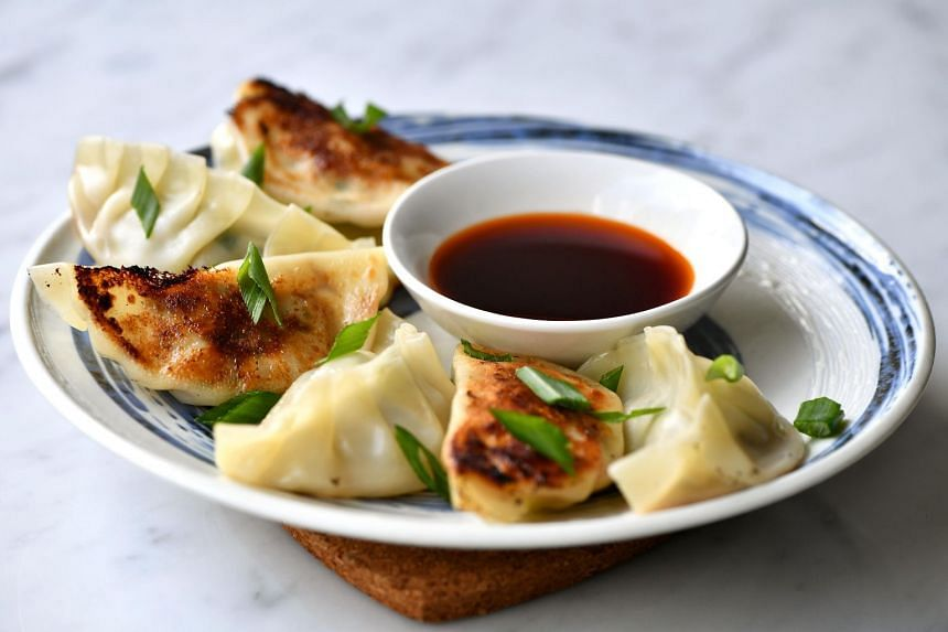 Beef and chive gyoza.