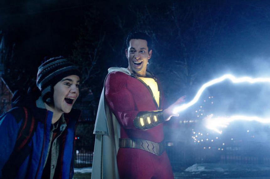Child-friendly superhero flick Shazam! stars Zachary Levi (right) and Jack Dylan Grazer (left).