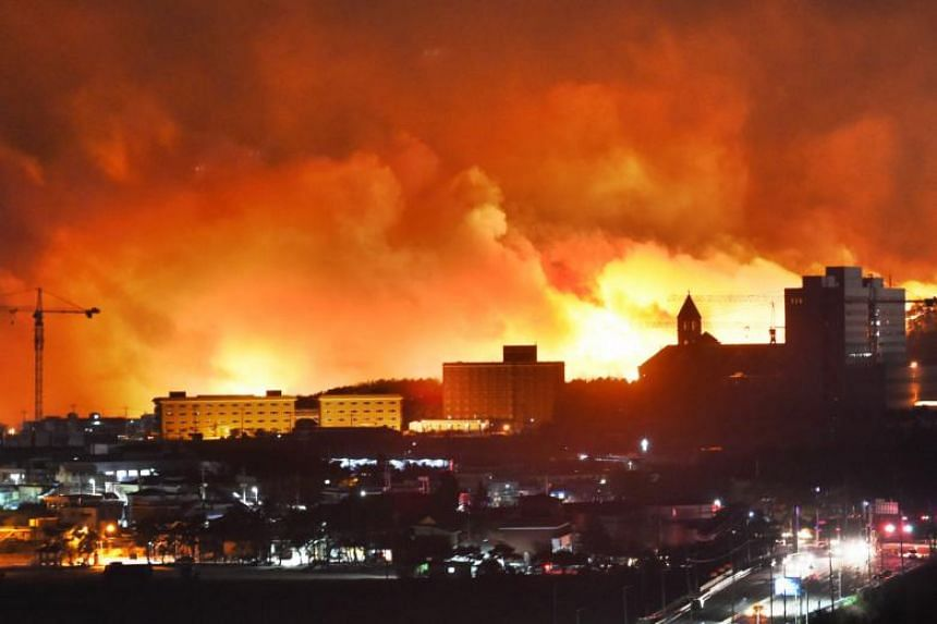 A forest fire rages near a town in Sokcho.