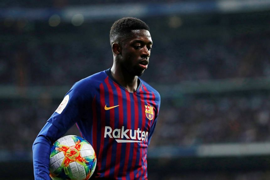 Dembele (above) was ruled out for around a month after picking up a hamstring injury.
