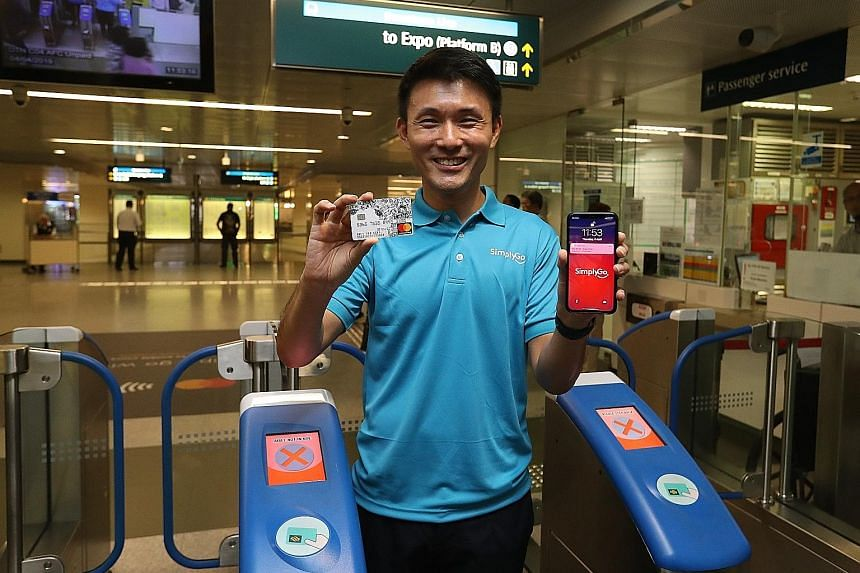 Left: To use SimplyGo, commuters tap the fare gantry with their Mastercard or mobile phone, which must already have Apple Pay, Fitbit Pay, Google Pay or Samsung Pay available. Above: Senior Parliamentary Secretary for Transport Baey Yam Keng said Sim