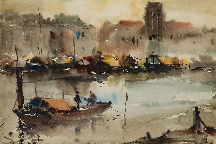 Lim Cheng Hoe's Singapore River, 1962, a 33 x 43cm watercolour on paper work in the collection of National Gallery Singapore. Studio I, a mural on the exterior wall of Chen Wen Hsi's house, which he painted with a former student, artist Wong Keen, in