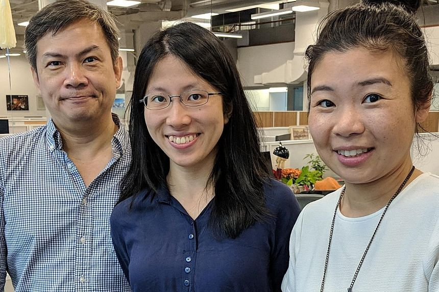 From left: Writers John Lui, Toh Wen Li and Melissa Sim.