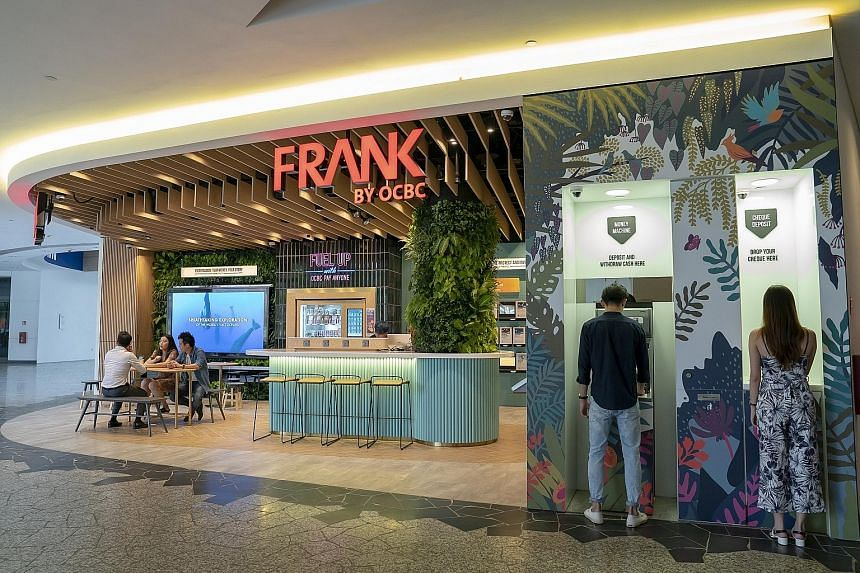 The Frank by OCBC Store in NUS' Stephen Riady Centre, University Town, is an open-concept bank branch that aims to upend the traditional image of a bank.