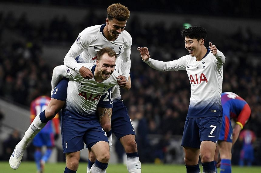 Christian Eriksen (carrying Dele Alli) and Son Heung-min scored the goals in Tottenham's 2-0 win over Crystal Palace on Wednesday.