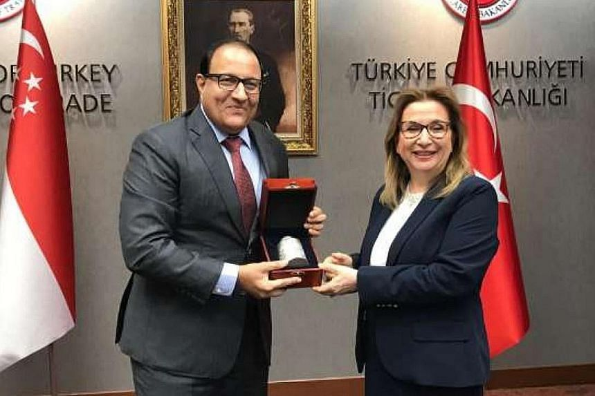 Minister-in-charge of Trade Relations S. Iswaran with Turkish Minister of Trade Ruhsar Pekcan in Ankara.