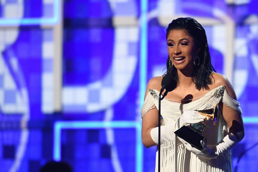 Cardi B accepting an award at the Grammys on Feb 10, 2019. She is up for 21 nominations at the Billboard Music Awards in May.