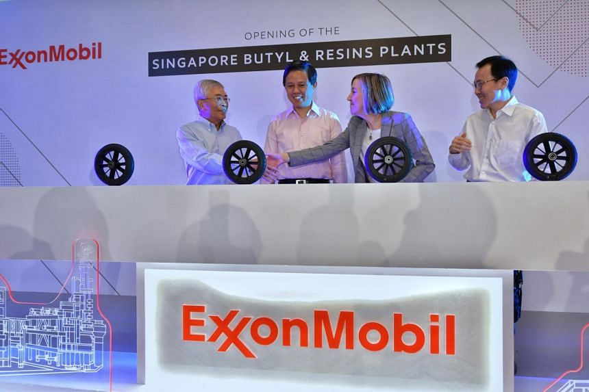 (From left) ExxonMobil Asia Pacific chairman and managing director Gan Seow Kee, Trade and Industry Minister Chan Chun Sing, ExxonMobil Chemical Company president Karen McKee, and Singapore Economic Development Board chairman Beh Swan Gin at the open