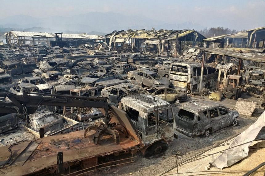 Burnt scrapped vehicles are seen after a wildfire swept through a junkyard in Sokcho, South Korea, April 5, 2019.