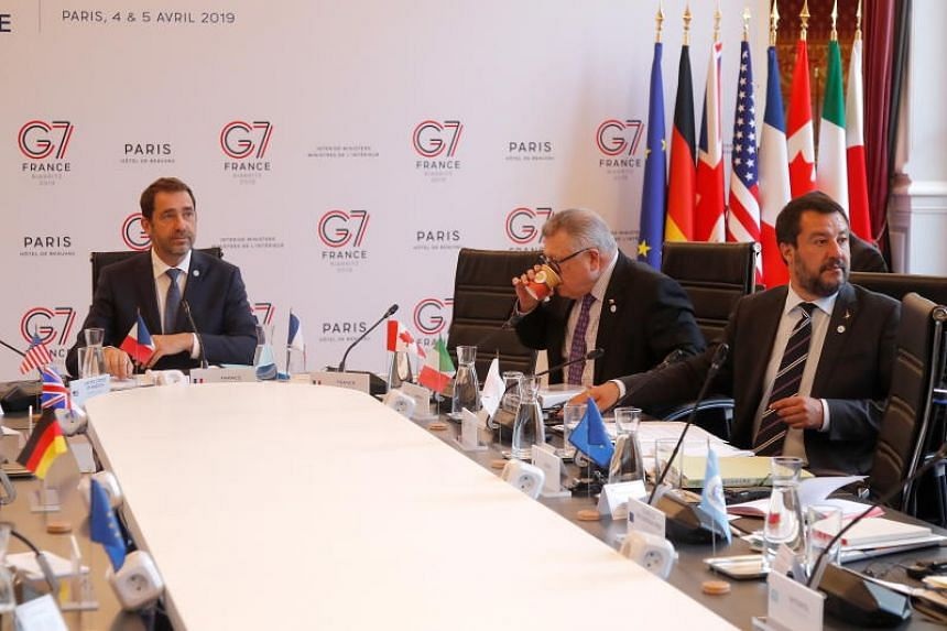 (From left) French Interior Minister Christophe Castaner, Canadian Public Safety Minister Ralph Goodale and Italian Deputy Prime Minister Matteo Salvini during an Interior ministers of G7 nations meeting in Paris on April 4, 2019.