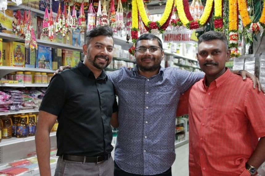 (From left): Jay Varman, co-founder and CEO of Dei, Regunarth Thyagarajan, owner of Jothi Store & Flower Shop and one of the merchants on Dei's platform, and PP Raj, co-founder of Dei.