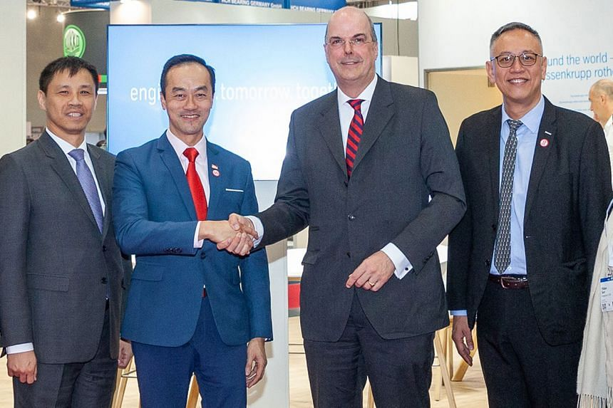 (From left) Singapore Ambassador to Germany Laurence Bay, Senior Minister of State for Trade and Industry Koh Poh Koon, Dr Donatus Kaufmann, board member of Thyssenkrupp, and Mr Lim Kok Kiang, assistant managing director of the Economic Development B