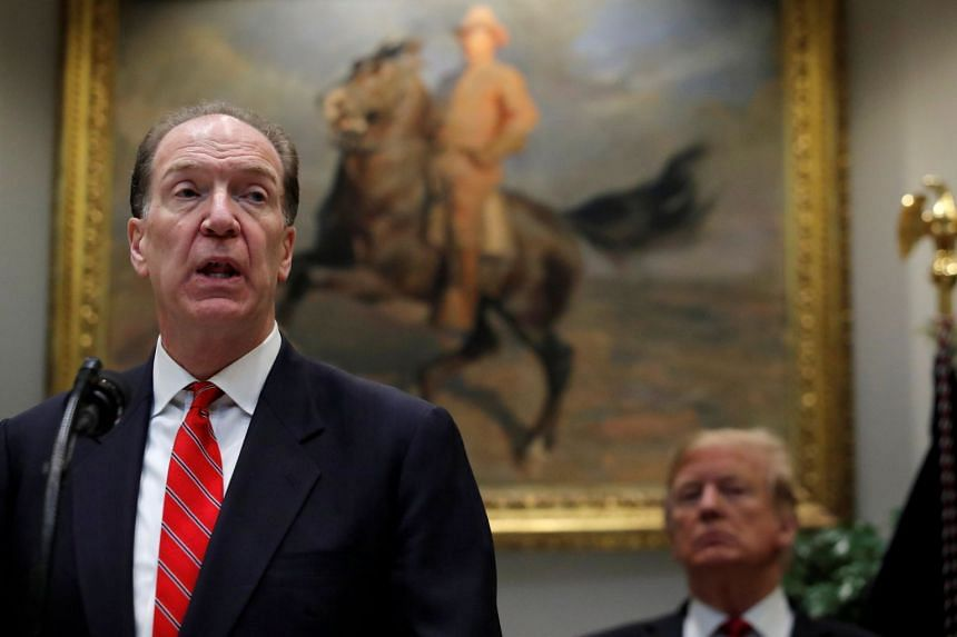 David Malpass speaks at an event at the White House with US President Donald Trump