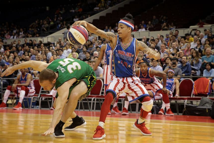 The Harlem Globetrotters' Wham (40) in action during the Singapore stop of their 2019 Fan Powered World Tour.