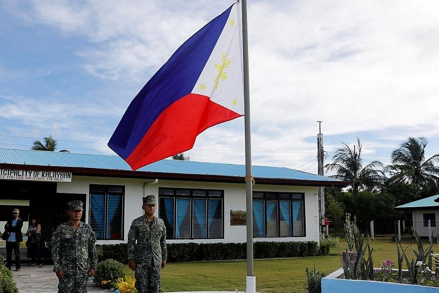 Filipino soldiers at Thitu Island in the disputed South China Sea in a 2017 photo. Philippine President Rodrigo Duterte said his remarks were not a warning, but rather a word of advice to a friend.