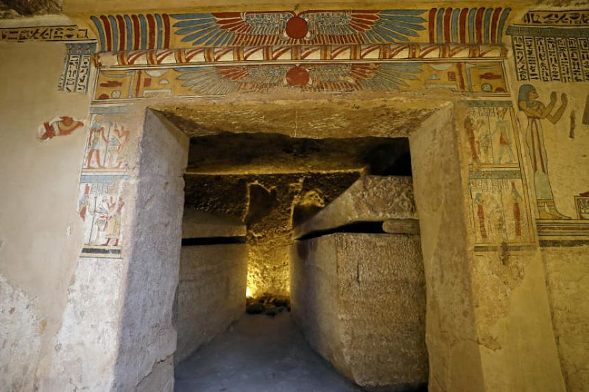 Preserved paintings seen inside the newly discovered burial site.
