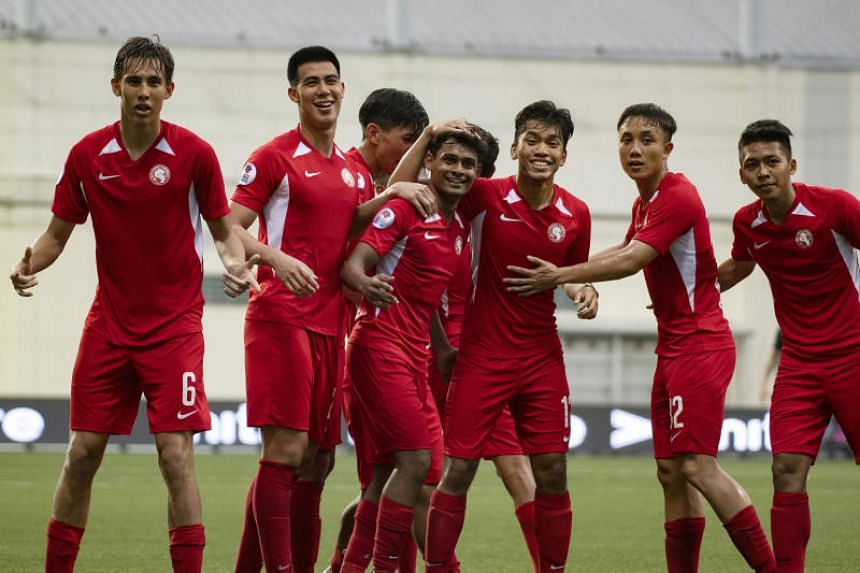 The Young Lions (above) stunned Hougang United 2-1 on March 31, 2019, and are eyeing another upset against Home United this week.