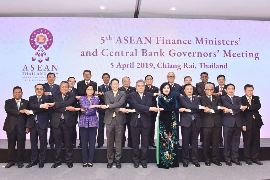 Finance Minister Heng Swee Keat (second row, right) and Monetary Authority of Singapore managing director Ravi Menon (next to Mr Heng) with other Asean finance ministers and central bank governors at the Asean Finance Ministers' and Central Bank Gove