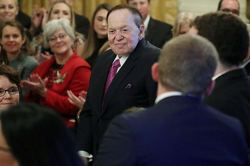 """Mr Sheldon Adelson, 85, has a """"real time net worth"""" of US$37.7 billion (S$51 billion), according to Forbes."""