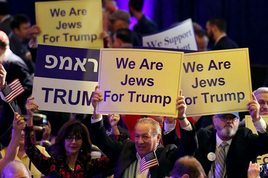 Attendees wait for Trump to speak at the Republican Jewish Coalition's annual leadership meeting in Las Vegas, Nevada.