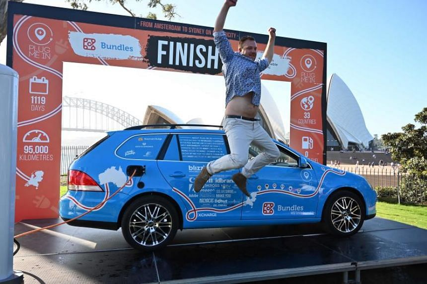 Dutchman ends 'world's longest electric auto trip' in Australia, clocking 95,000km