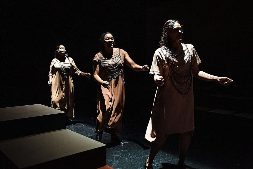 The performers (from left) Grace Kalaiselvi, Sharon Frese and Rebekah Sangeetha Dorai draw on their personal experiences to address the legacy of colonialism.