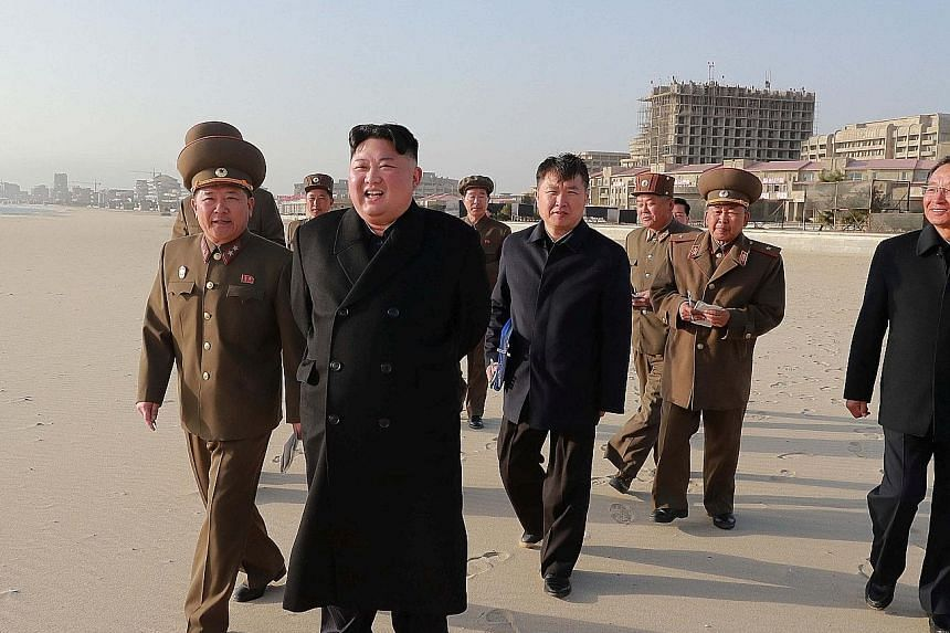 The eastern seaside strip is intended as the centrepiece of North Korea's nascent tourism sector, as it seeks to develop its economy despite the sanctions. North Korean leader Kim Jong Un on a visit to the Wonsan-Kalma Coastal Tourist Area. The site'