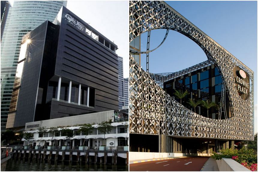 OUE C-Reit's OUE Bayfront (left) and OUE Hospitality Trust's Crowne Plaza Changi Airport.
