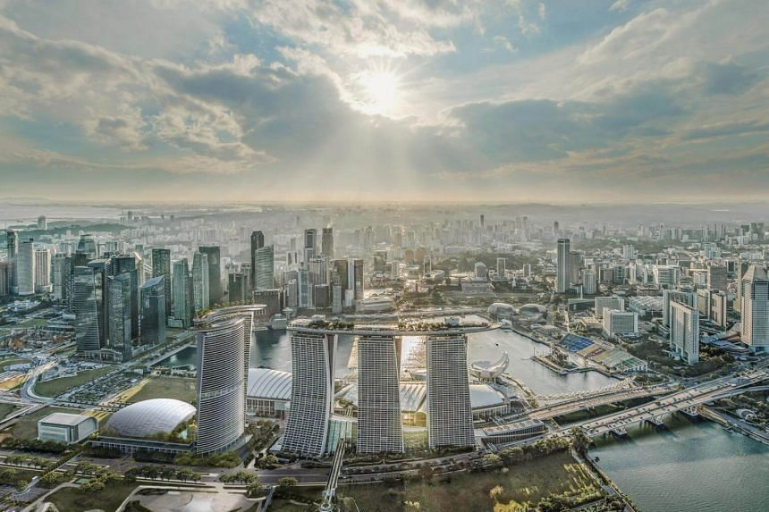 Artist's impression of the new hotel tower of Marina Bay Sands.