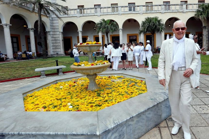 Francois Pasquier (right) of France, creator of 'Le Diner en Blanc' (The Dinner in White), at the event in Havana, Cuba, on April 6, 2019.