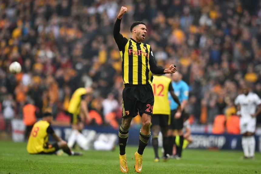 Watford's French midfielder Etienne Capoue celebrates on the final whistle during the English FA Cup semi-final match between Watford and Wolverhampton Wanderers at Wembley Stadium in London, on April 7, 2019.