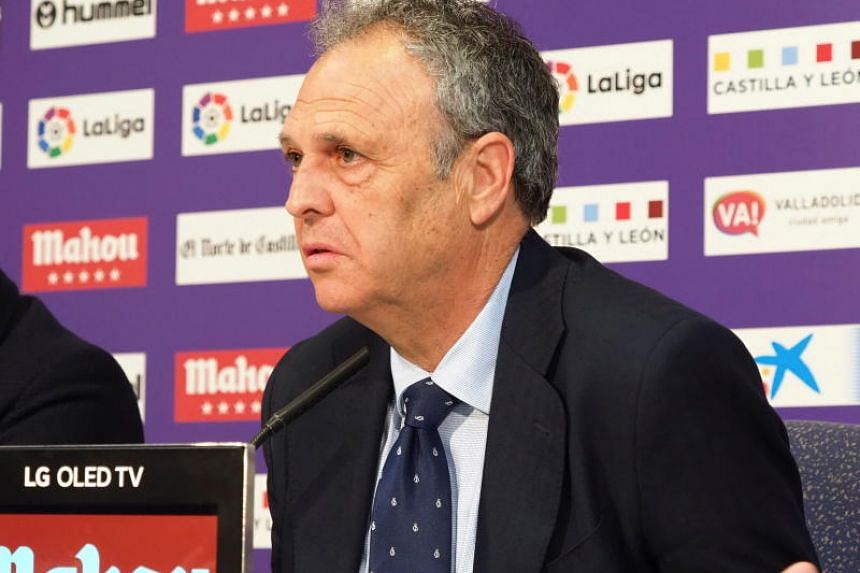 Sevilla's head coach Joaquin Caparros at a press conference after their Spanish LaLiga soccer match against Valladolid CF, at the Jose Zorrilla stadium in Valladolid, northern Spain, on April 7, 2019.