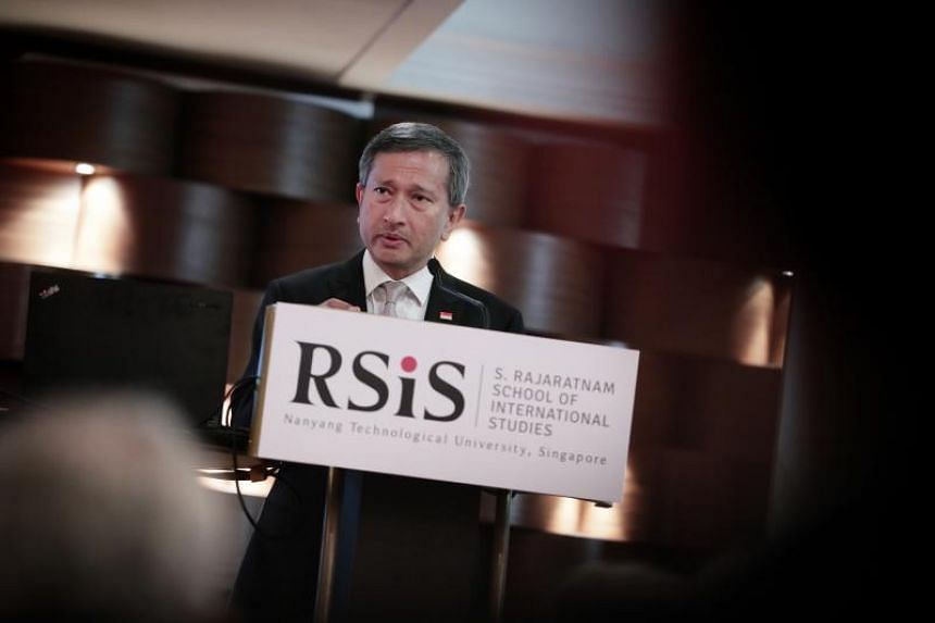 Foreign Affairs Minister Vivian Balakrishnan speaking at the 13th Asia-Pacific Programme for Senior National Security Officers on April 8, 2019.