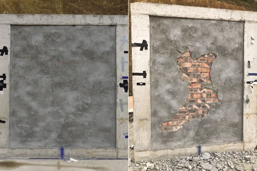 A wall wrapped with the material (left). It was left largely undamaged despite a luggage bomb exploding around 10 metres away.