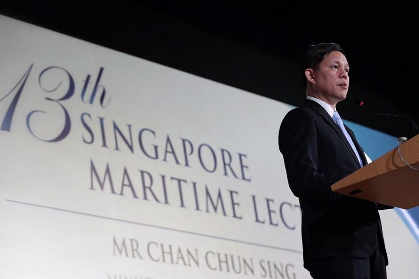 Minister for Trade and Industry Chan Chun Sing speaking at the 13th Singapore Maritime Lecture on April 8, 2019.