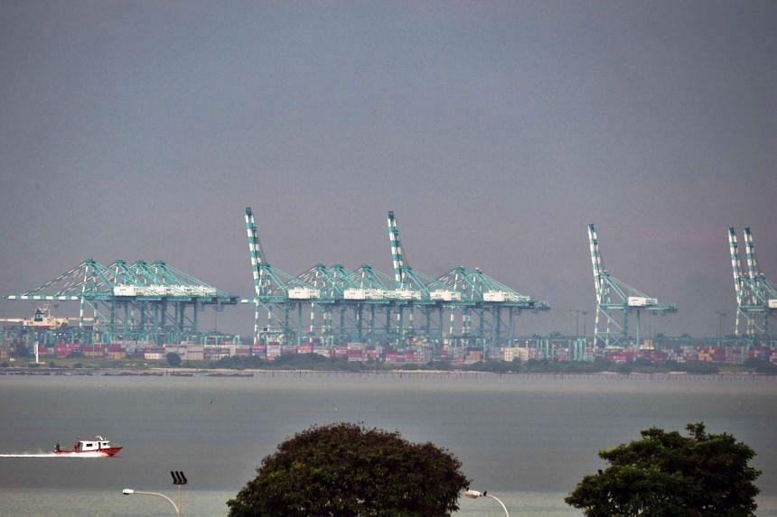 A view of the Johor Baru port, as seen from Tuas, on Dec 5, 2018.