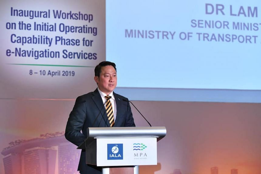 Senior Minister of State for Transport Lam Pin Min speaking at the opening of a three-day workshop on e-navigation on April 8, 2019.