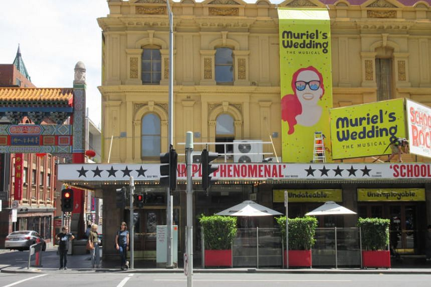 Her Majesty's Theatre is a Victorian-era building that hosts blockbuster shows such as Muriel's Wedding, adapted from the Australian film of the same name.