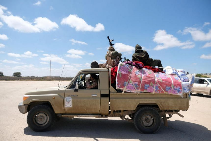 Libyan National Army members, commanded by Khalifa Haftar, head out of Benghazi to reinforce the troops advancing to Tripoli on April 7, 2019.