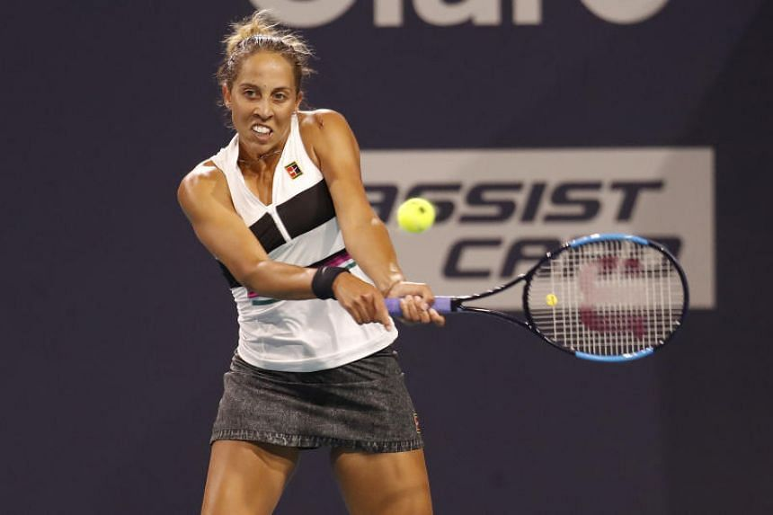 Madison Keys in the second round of the Miami Open at Miami Open Tennis Complex on March 21, 2019.