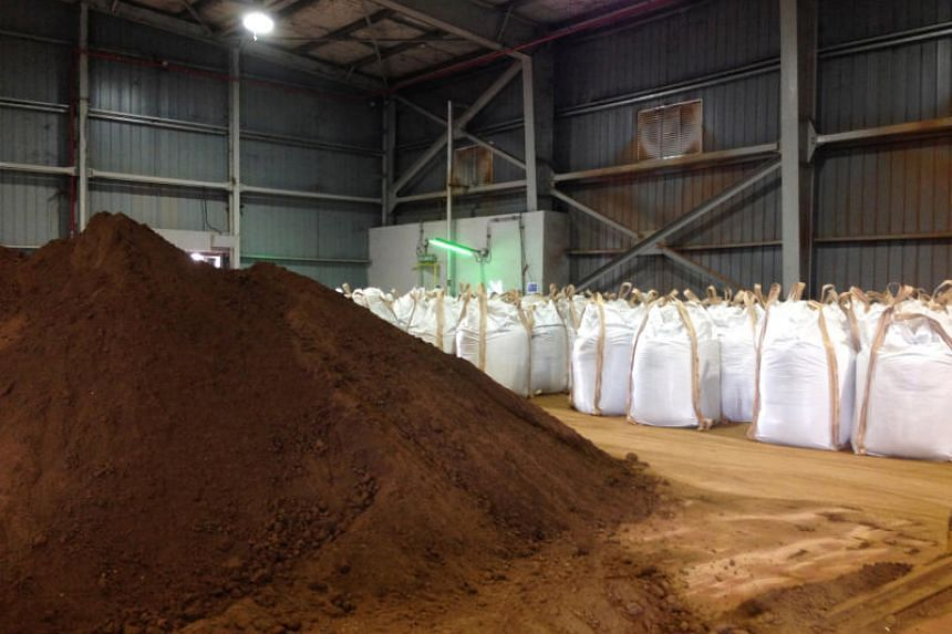 Rare earths dug up and processed into concentrate at Mount Weld in Western Australia, after being shipped to the Lynas plant in Gebeng, Kuantan, Malaysia, on July 3, 2014.
