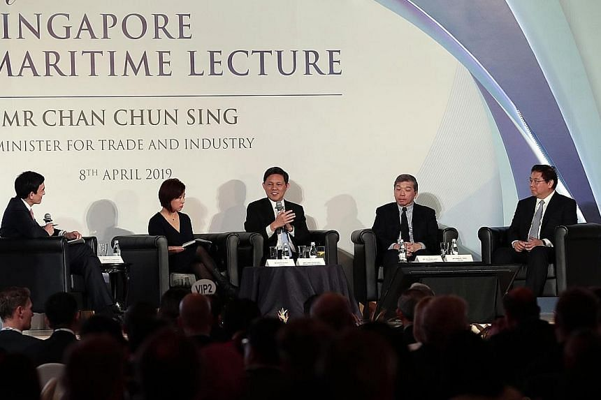 Trade and Industry Minister Chan Chun Sing (centre) at the panel discussion after delivering the 13th Singapore Maritime Lecture yesterday, with (from left) Singapore Maritime Foundation chairman Andreas Sohmen-Pao, 500 Startups China partner Edith Y