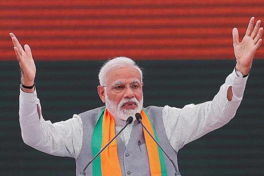 At a speech after releasing the ruling Bharatiya Janata Party's election manifesto in New Delhi yesterday, Prime Minister Narendra Modi said the document was inspired by the spirit of nationalism. It was seen by analysts as a bid to woo different seg
