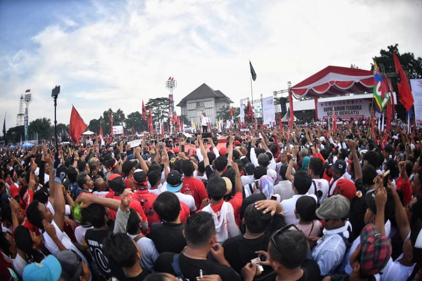 Indonesian President Joko Widodo at his homecoming rally in Solo on April 9, 2019.