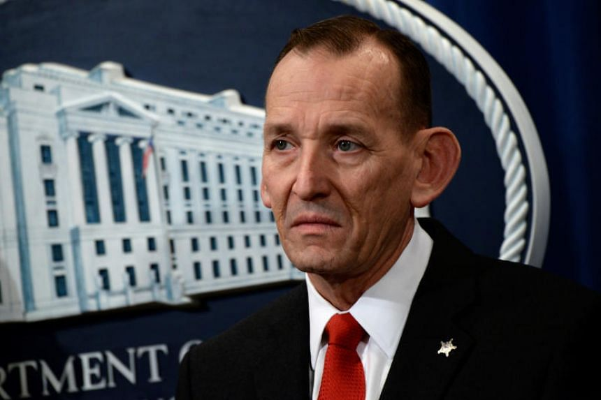 """US Secret Service Director Randolph Alles participates in a news conference about """"significant law enforcement actions related to elder fraud"""" in Washington, US, on March 7, 2019."""