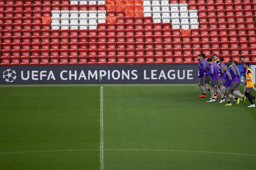 FC Porto players attending a training session held at Liverpool's Anfield Stadium in Britain, on April 8, 2019.