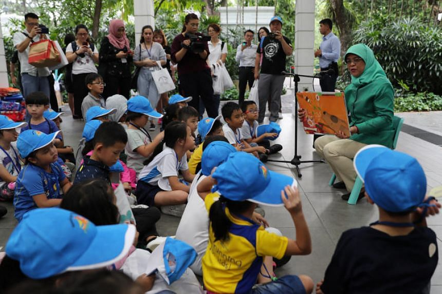 President Halimah hosting a picnic session for the beneficiaries from Shine Children and Youth Services at the Istana as part of the Picnic@Istana series on April 9, 2019.