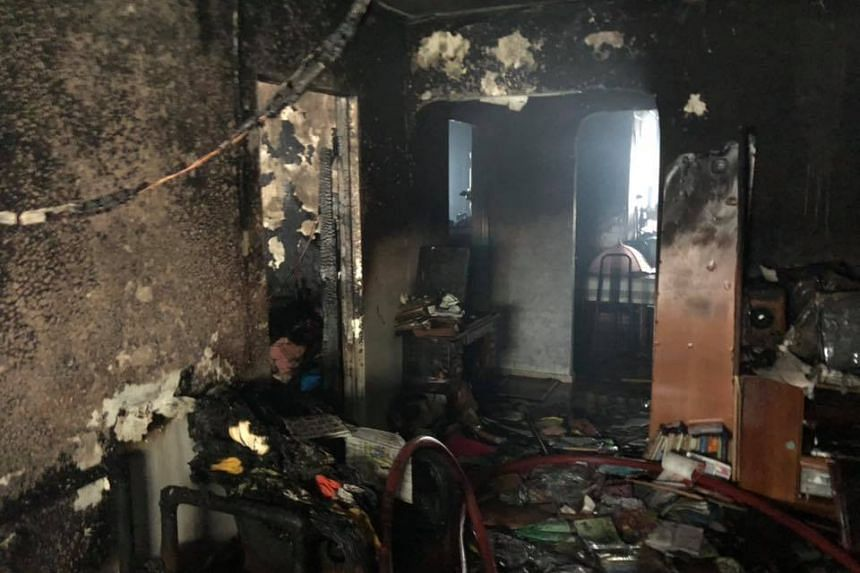 The raging fire involved the contents of a bedroom and the living room.